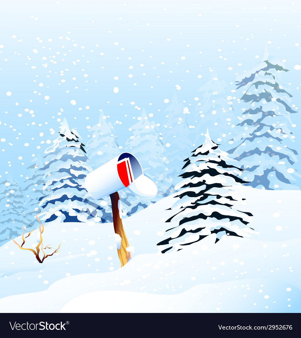 Christmas greetings and winter landscape vector | Price: 1 Credit (USD $1)