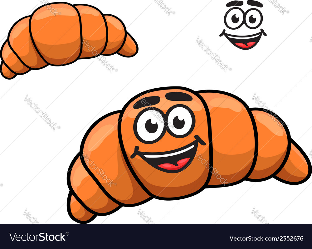 Crusty golden croissant with a happy smile vector | Price: 1 Credit (USD $1)