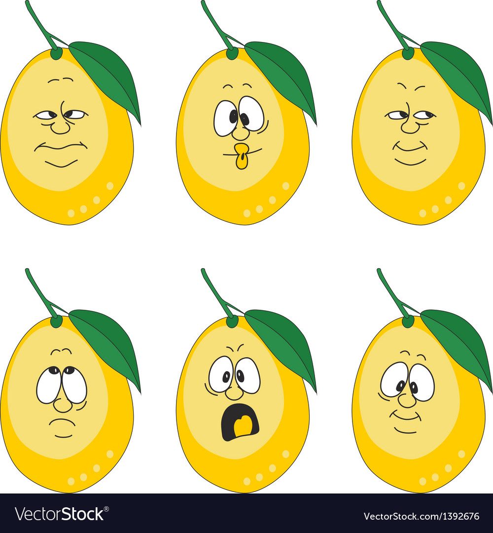 Emotion yellow lemon set vector | Price: 1 Credit (USD $1)
