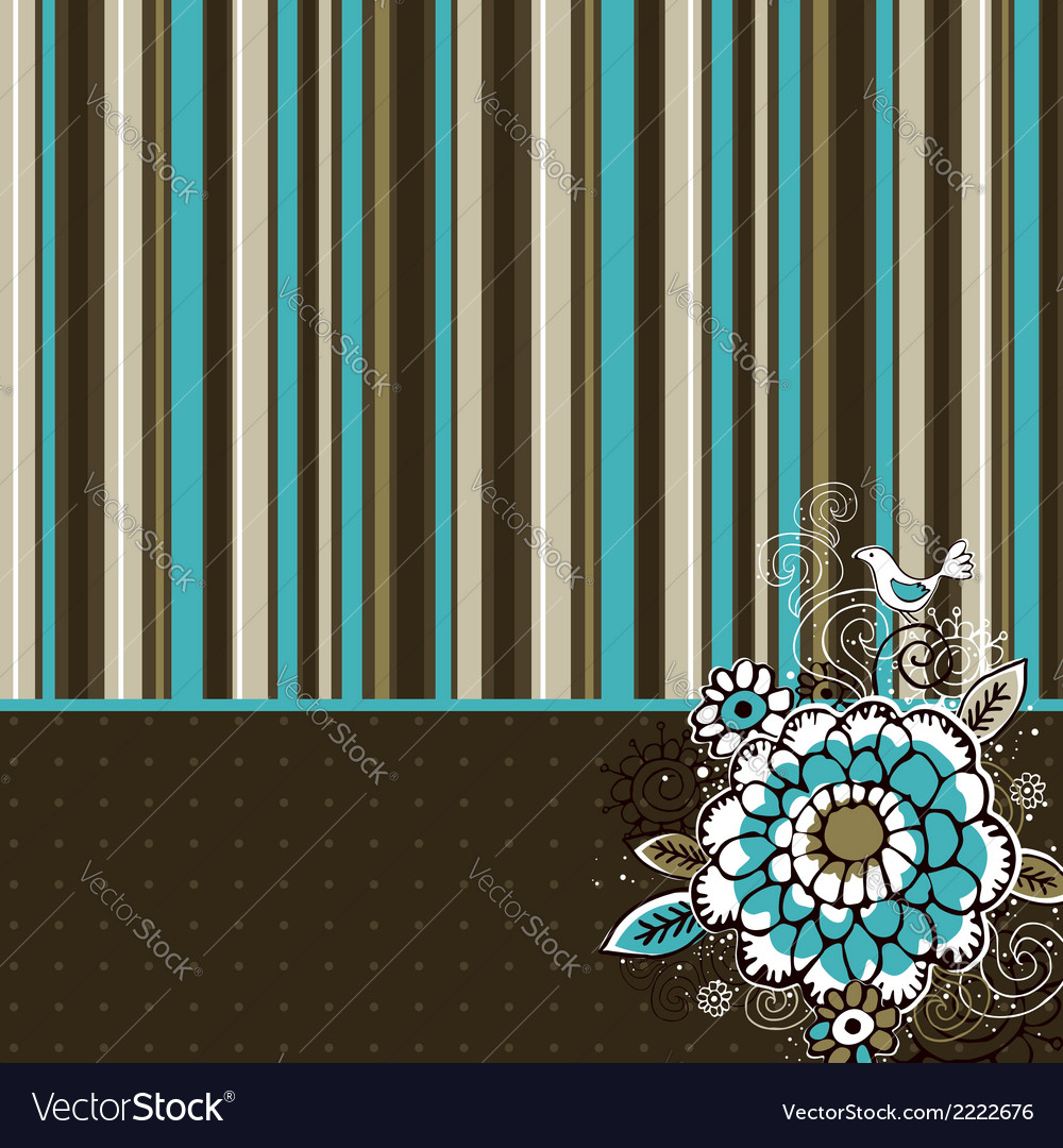 Hand draw flowers on striped background vector | Price: 1 Credit (USD $1)