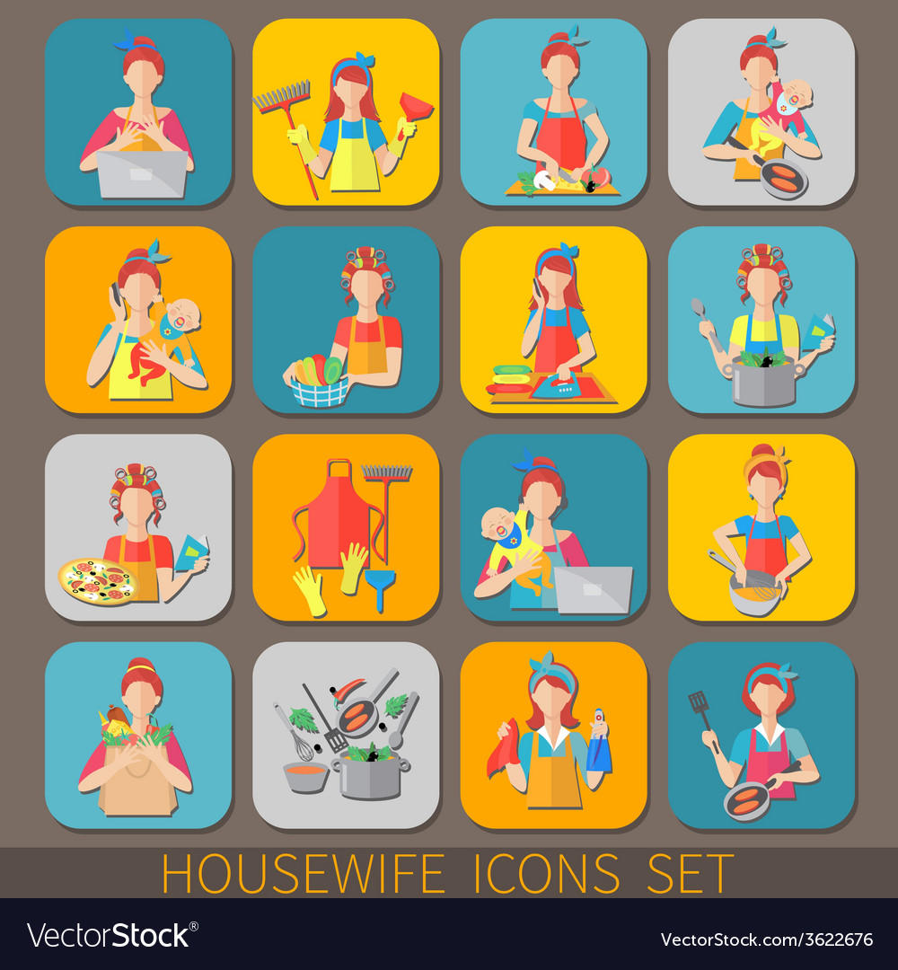 Housewife icons set vector | Price: 1 Credit (USD $1)
