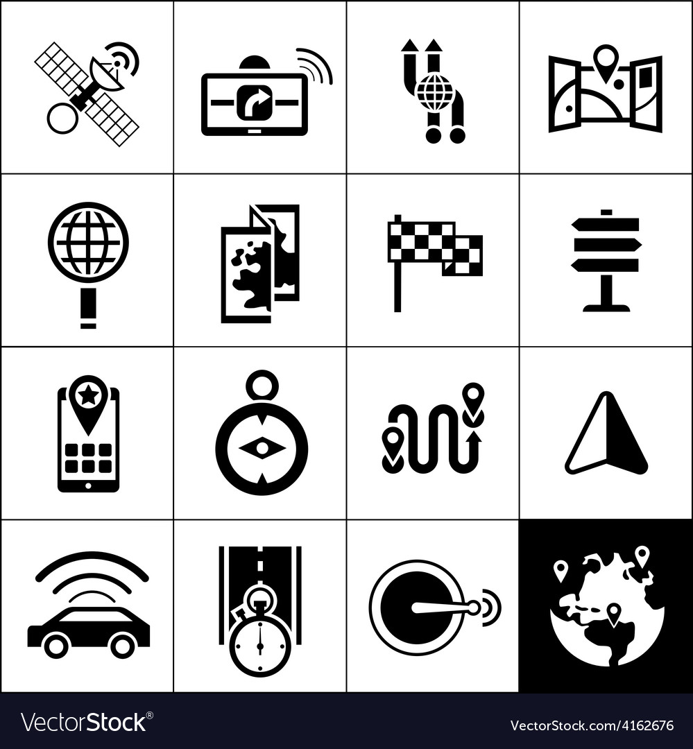 Navigation icons black vector | Price: 1 Credit (USD $1)