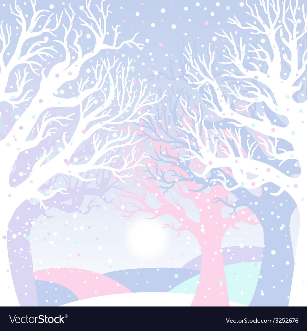 New year card with winter forest vector | Price: 1 Credit (USD $1)