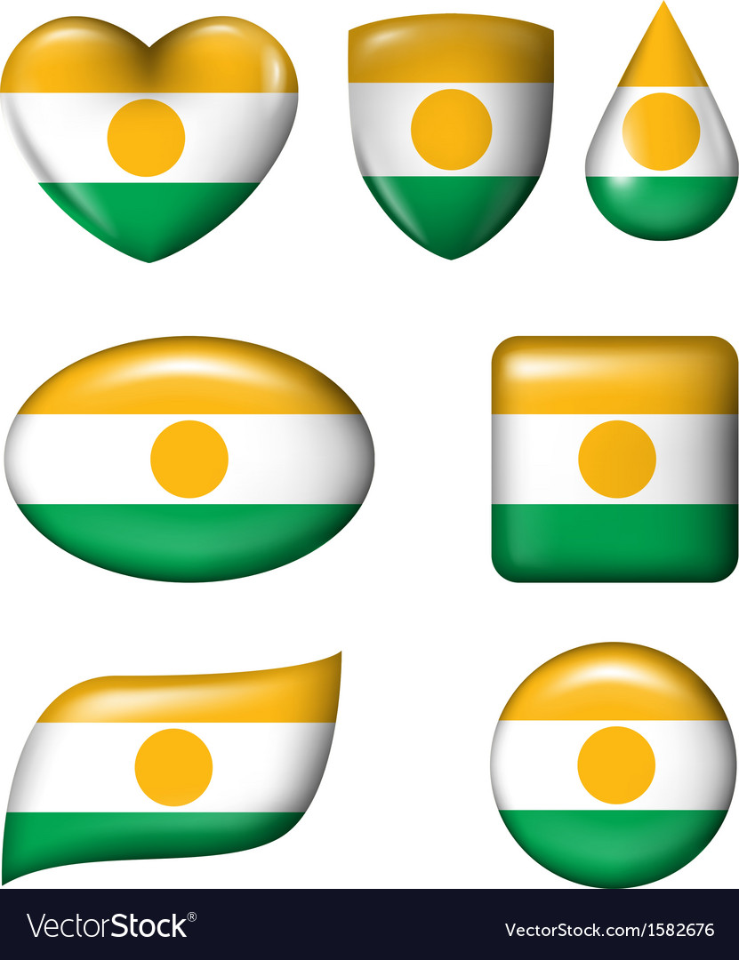 Niger flag in various shape glossy button vector | Price: 1 Credit (USD $1)
