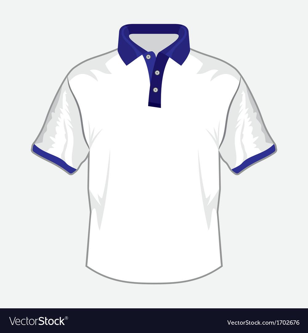 Polo majica bela teget kragna resize vector   Price: 1 Credit (USD $1)