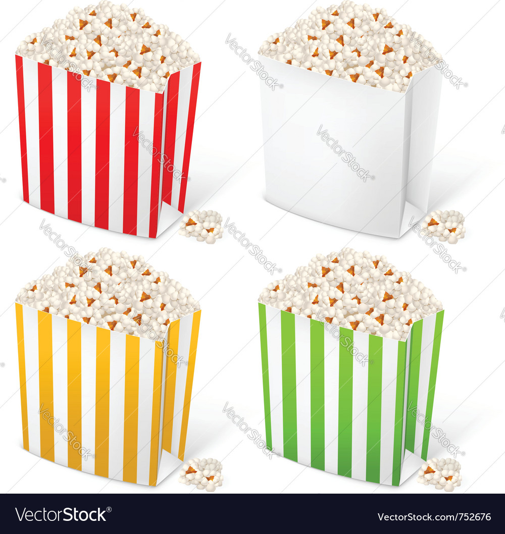 Popcorn in multicolored striped packages vector | Price: 3 Credit (USD $3)