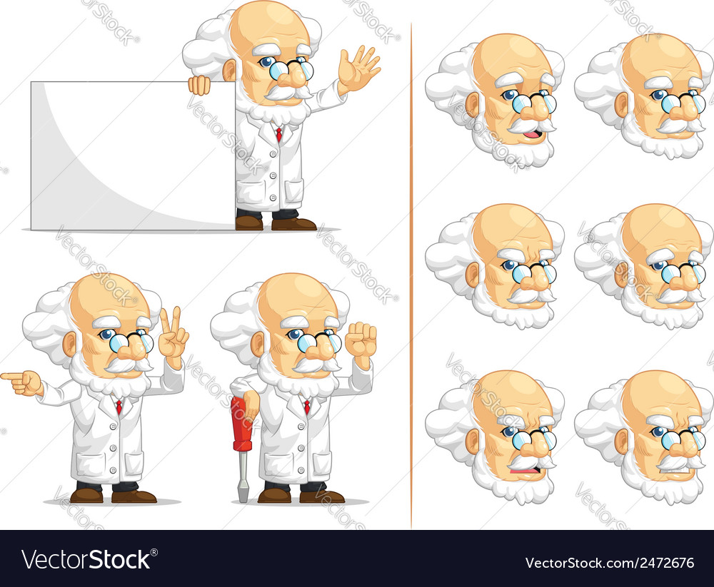 Scientist or professor customizable mascot 5 vector | Price: 1 Credit (USD $1)