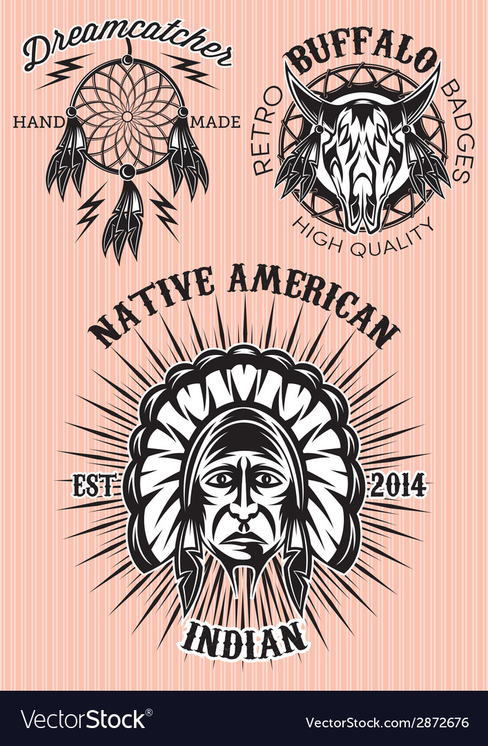 Set of emblems on the theme of native american vector | Price: 1 Credit (USD $1)
