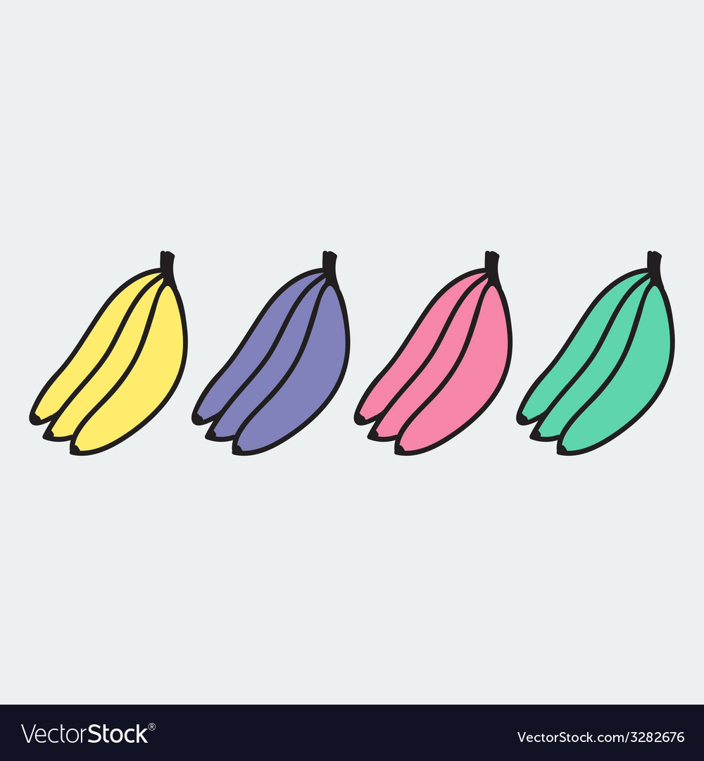 Set of hand-drawn banana - on the theme of the vector | Price: 1 Credit (USD $1)