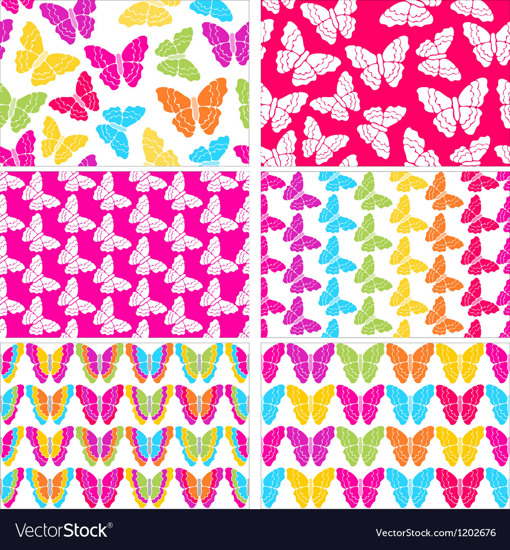 Set of six seamless butterflies backgrounds vector | Price: 1 Credit (USD $1)