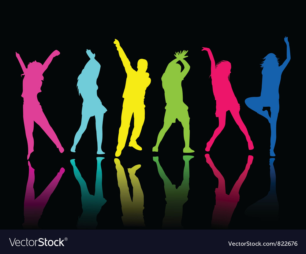 Silhouette people party dance vector | Price: 1 Credit (USD $1)