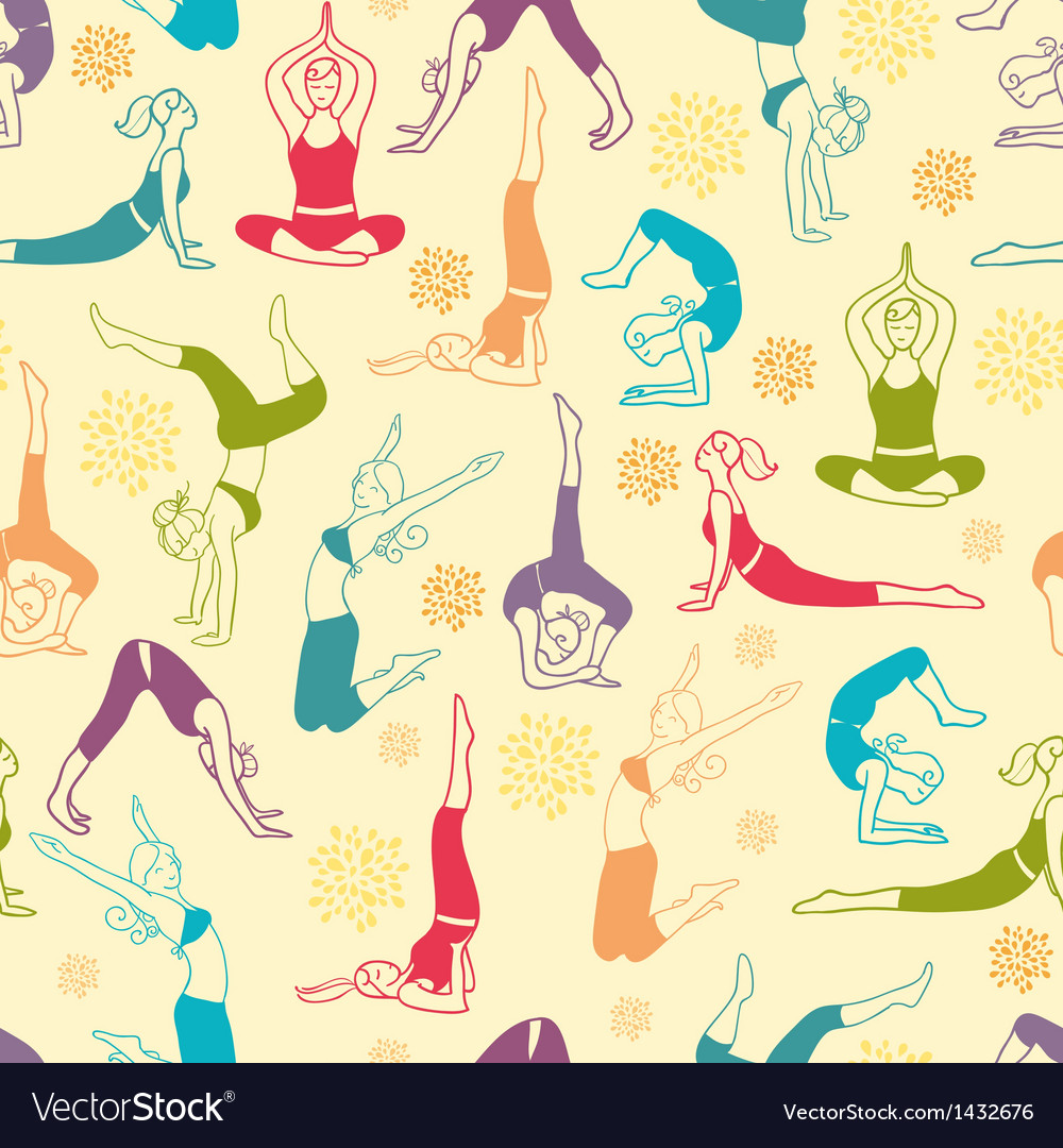 Workout fitness girls seamless pattern background vector | Price: 1 Credit (USD $1)