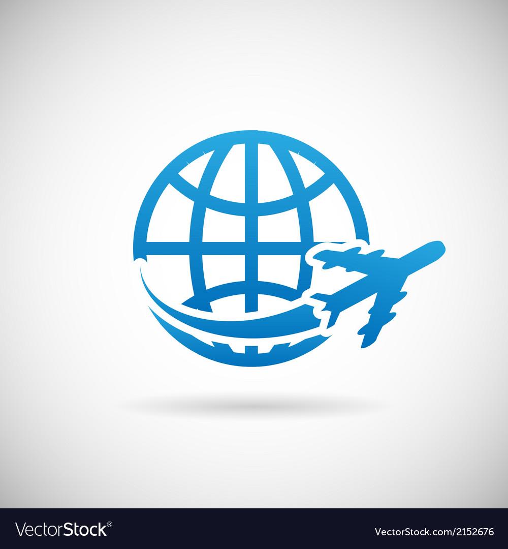 World travel symbol airplane and globe icon design vector | Price: 1 Credit (USD $1)