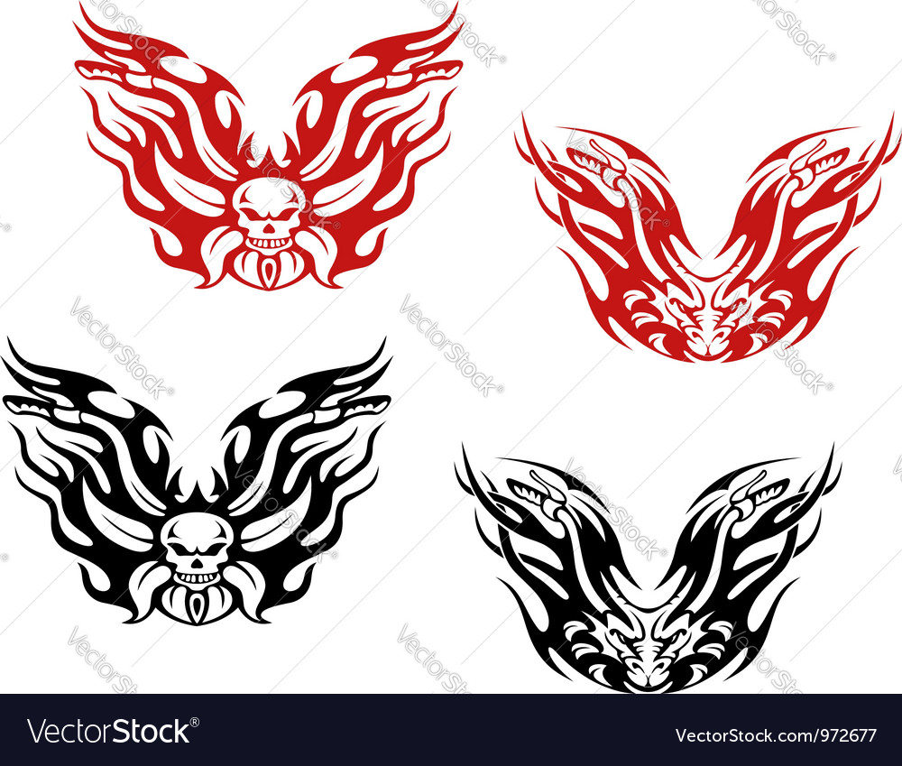 Bikers and bikes tattoos vector | Price: 1 Credit (USD $1)