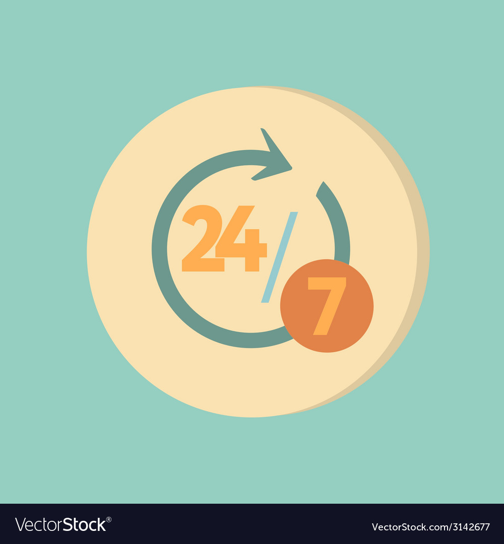 Character 24 7 symbol icon clock service vector | Price: 1 Credit (USD $1)