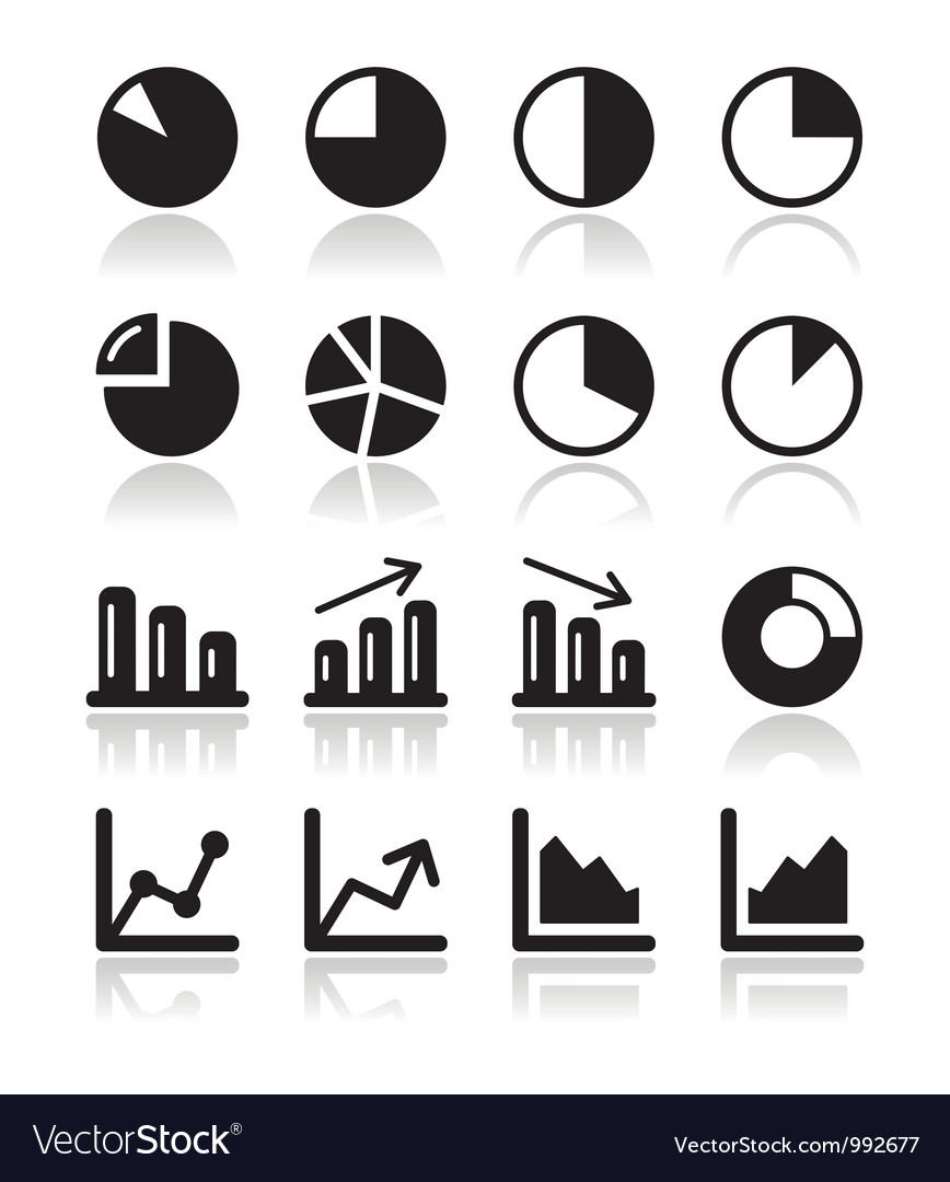 Chart graph black icons set for infographics vector | Price: 1 Credit (USD $1)