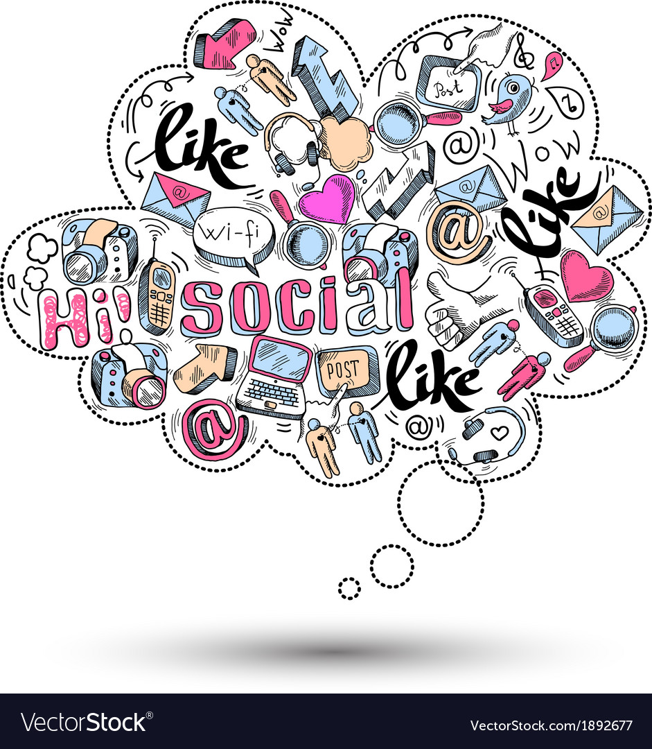 Doodle social media infographics vector | Price: 1 Credit (USD $1)