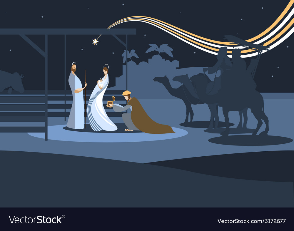 Flat nativity scene b vector | Price: 1 Credit (USD $1)