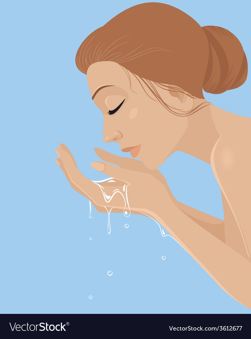 Girl washing her face vector | Price: 1 Credit (USD $1)