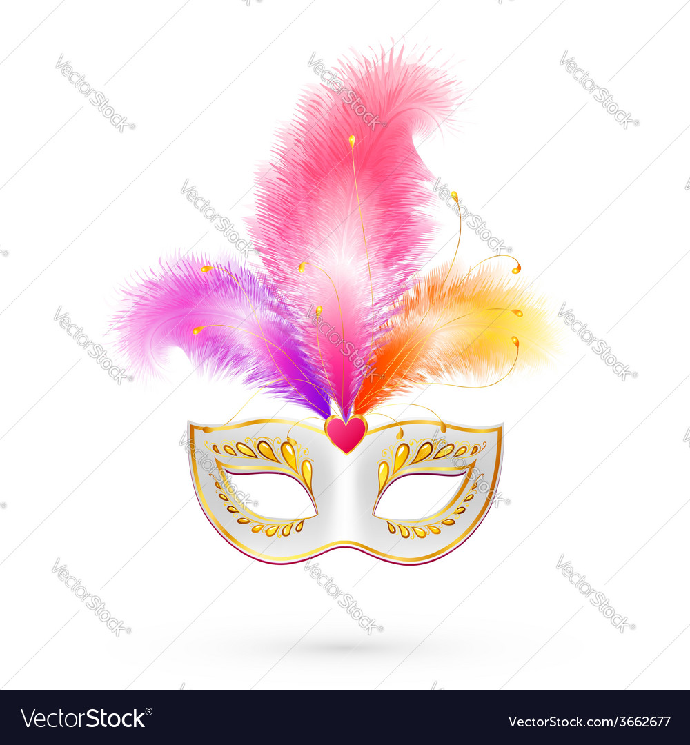 White carnival mask with pink feathers vector | Price: 1 Credit (USD $1)