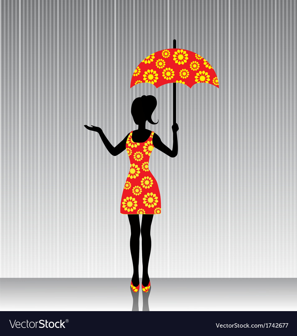 Woman with an umbrella in a bright dress vector | Price: 1 Credit (USD $1)