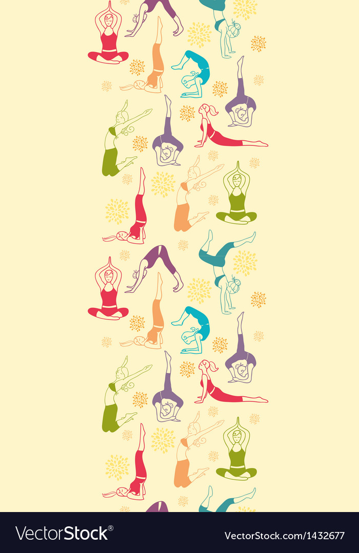 Workout fitness girls vertical seamless pattern vector | Price: 1 Credit (USD $1)