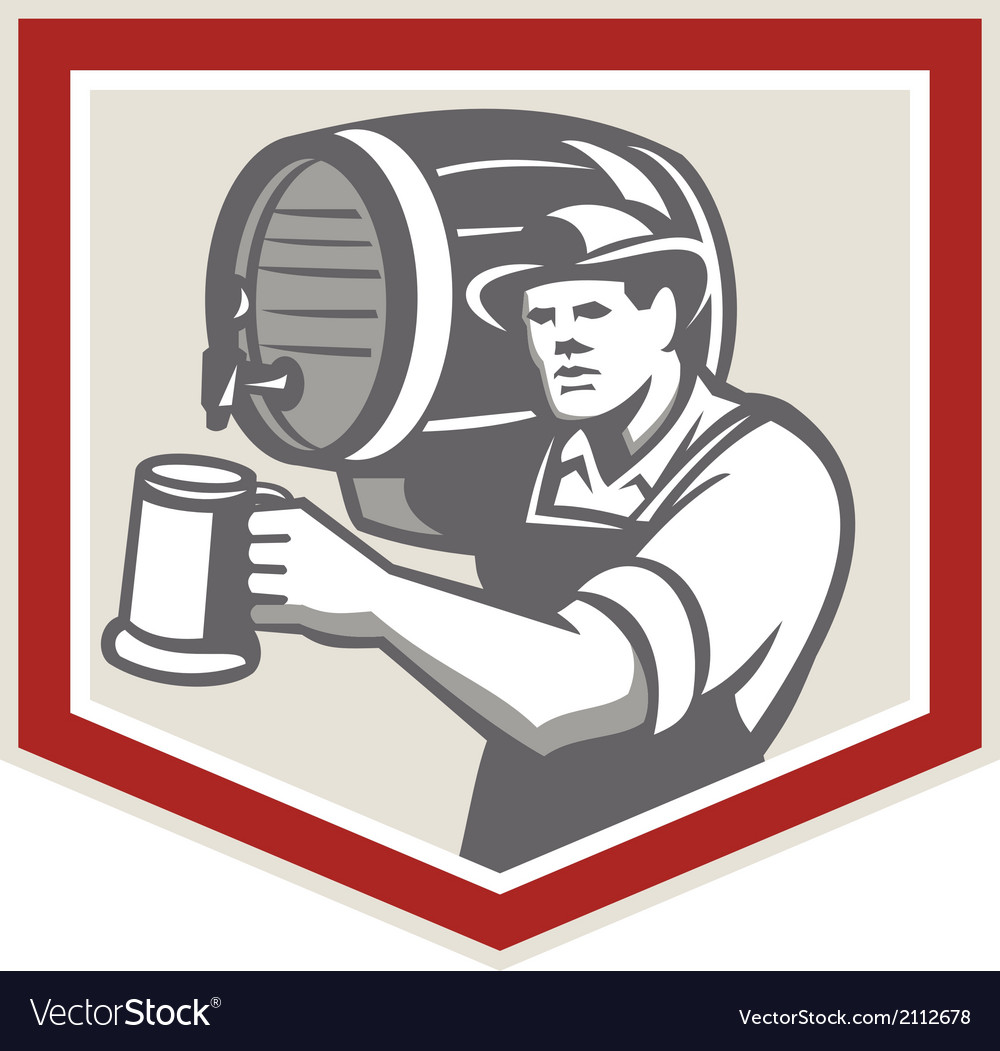 Barman lifting barrel pouring beer mug retro vector | Price: 1 Credit (USD $1)