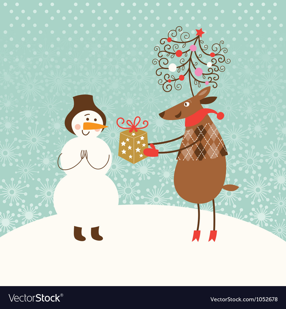 Christmas card with cute snowman and deer vector | Price: 3 Credit (USD $3)