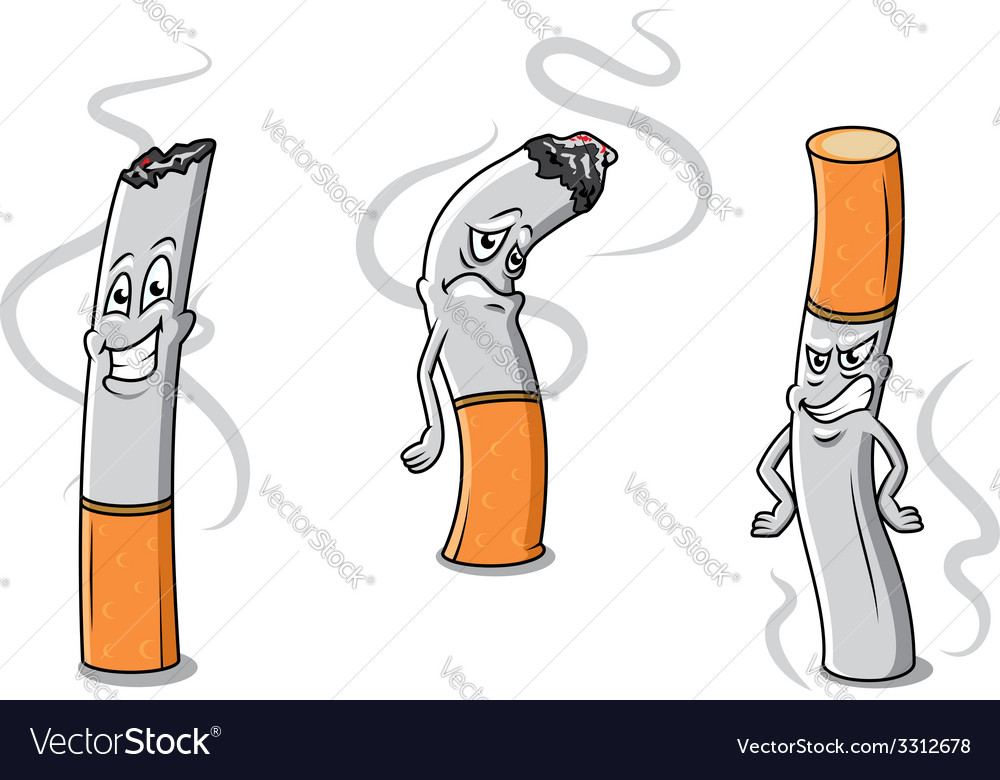 Cute cartoon cigarettes characters vector | Price: 1 Credit (USD $1)