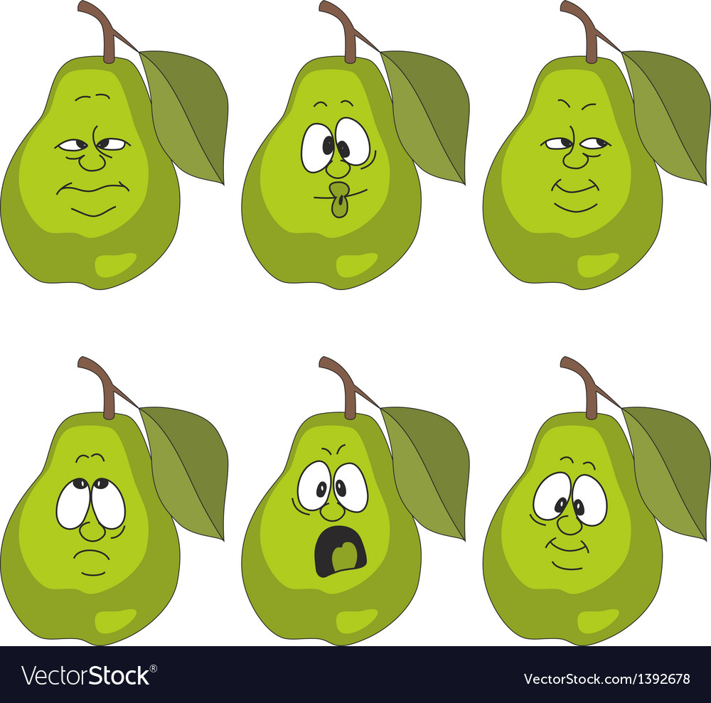 Emotion green pear set vector | Price: 1 Credit (USD $1)