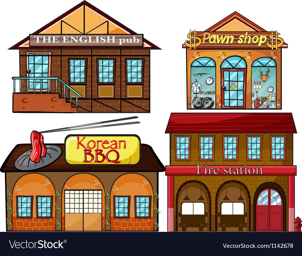 English pub korean restaurant pawnshop and fire vector | Price: 1 Credit (USD $1)