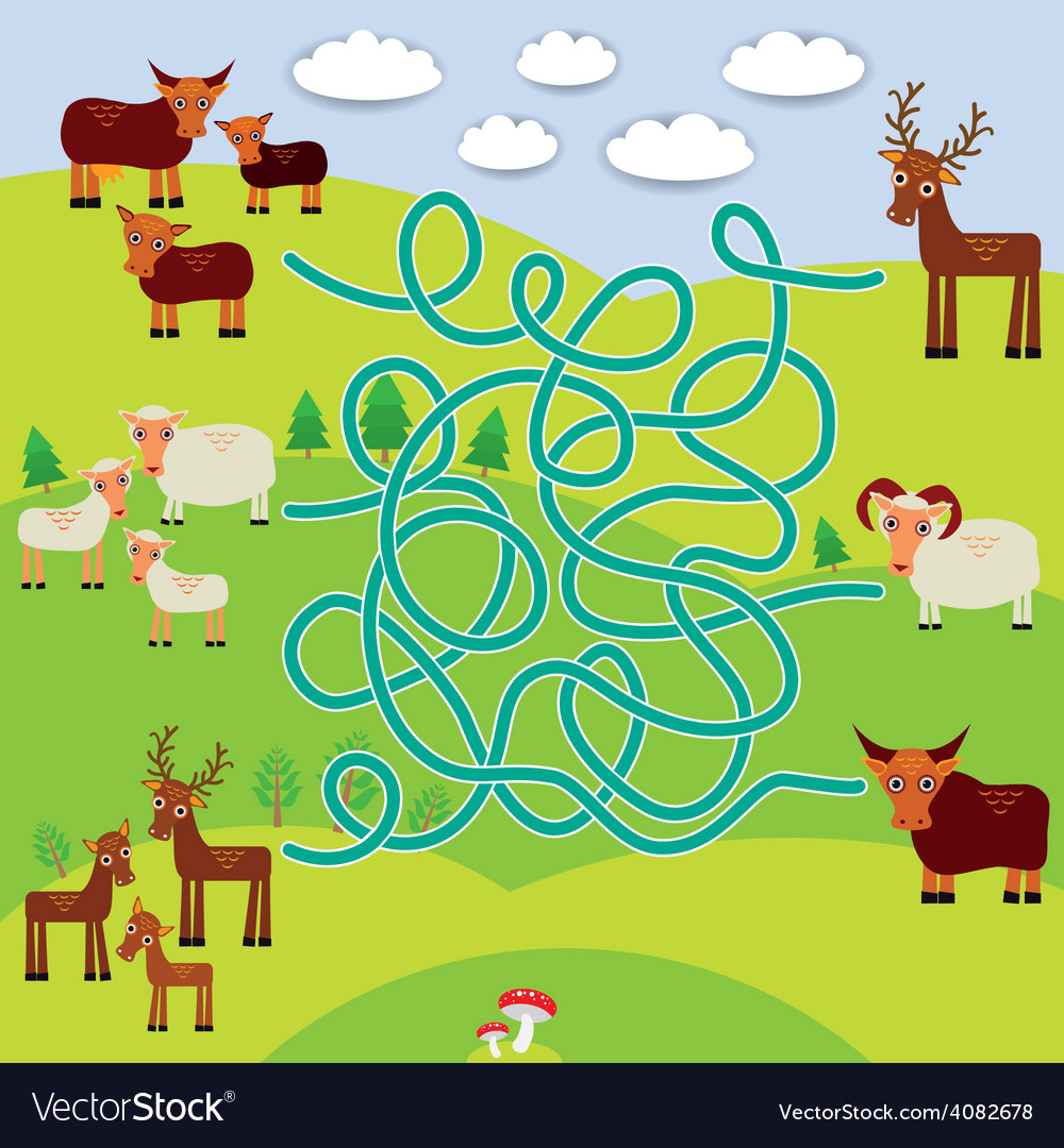 Farm animals - sheep deer cow labyrinth game for vector | Price: 1 Credit (USD $1)