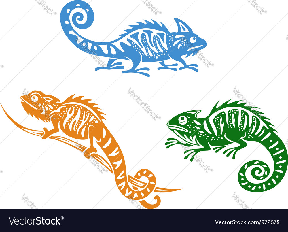 Green blue and orange chameleons vector | Price: 1 Credit (USD $1)