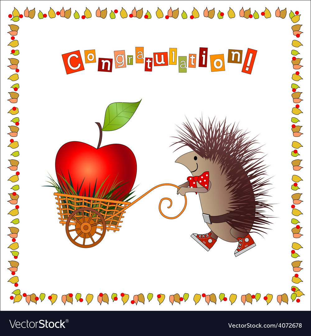 Greeting card joyful hedgehog vector | Price: 1 Credit (USD $1)
