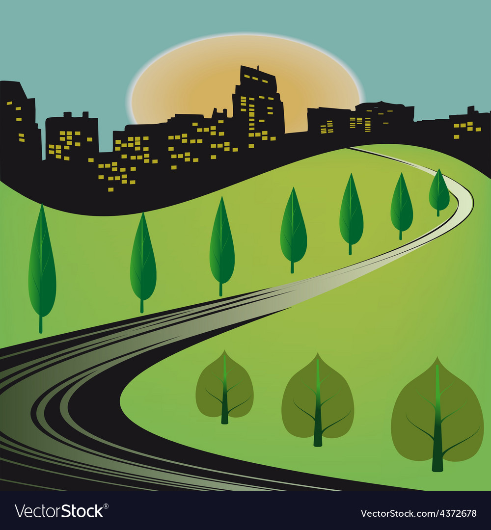 Journey to the city vector | Price: 1 Credit (USD $1)