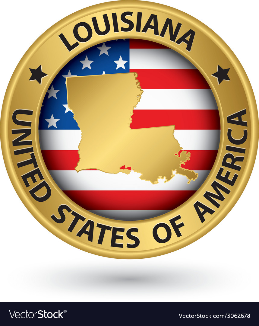 Louisiana state gold label with state map vector | Price: 1 Credit (USD $1)