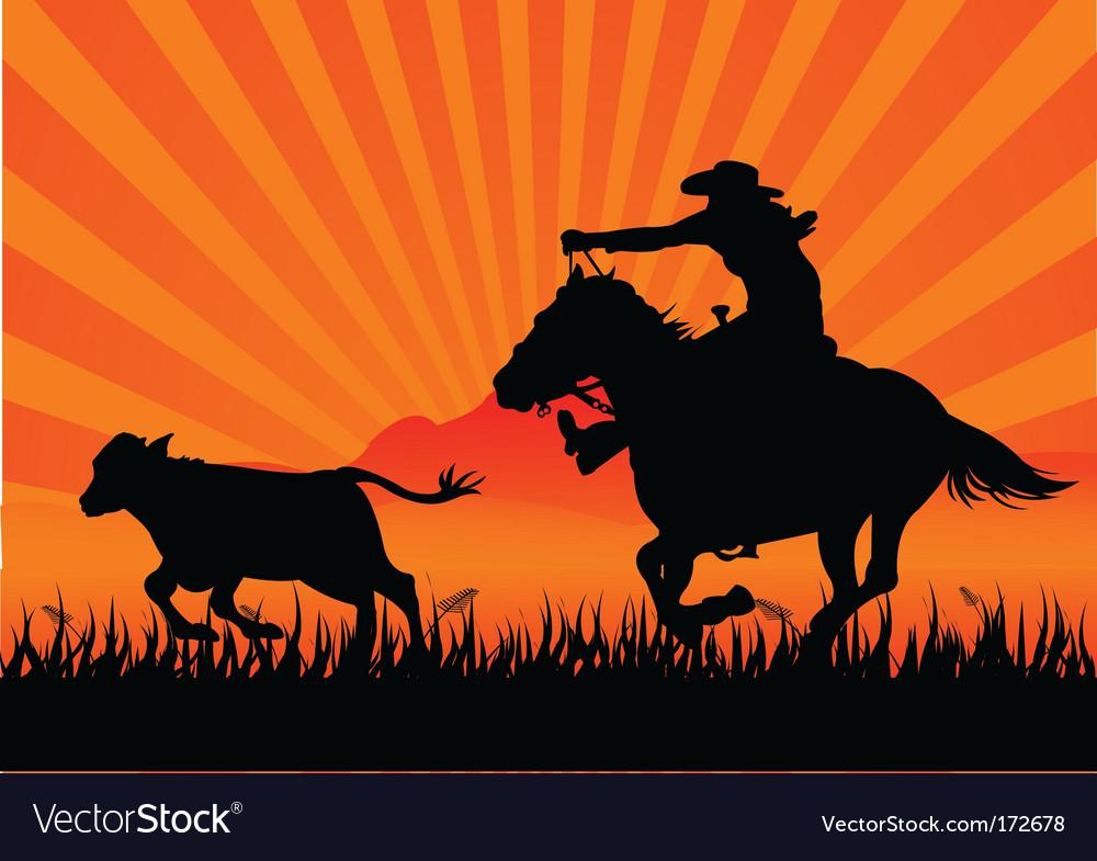 Riding cowboy vector | Price: 1 Credit (USD $1)