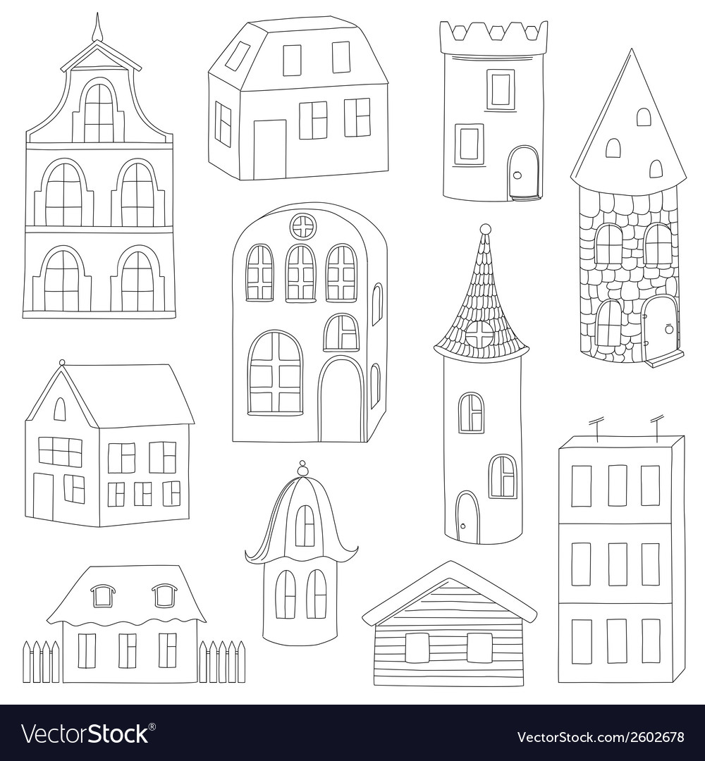 Set of doodle houses vector | Price: 1 Credit (USD $1)