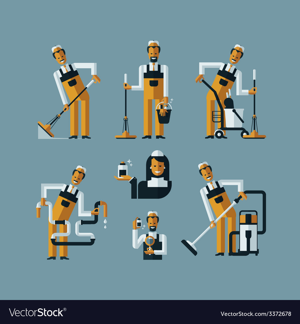 Vacuum cleaner worker icons vector | Price: 3 Credit (USD $3)