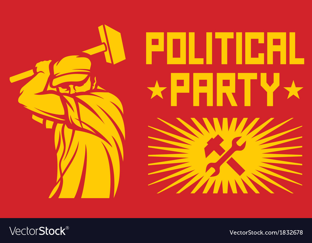 Worker holding a hammer - political party poster vector | Price: 1 Credit (USD $1)