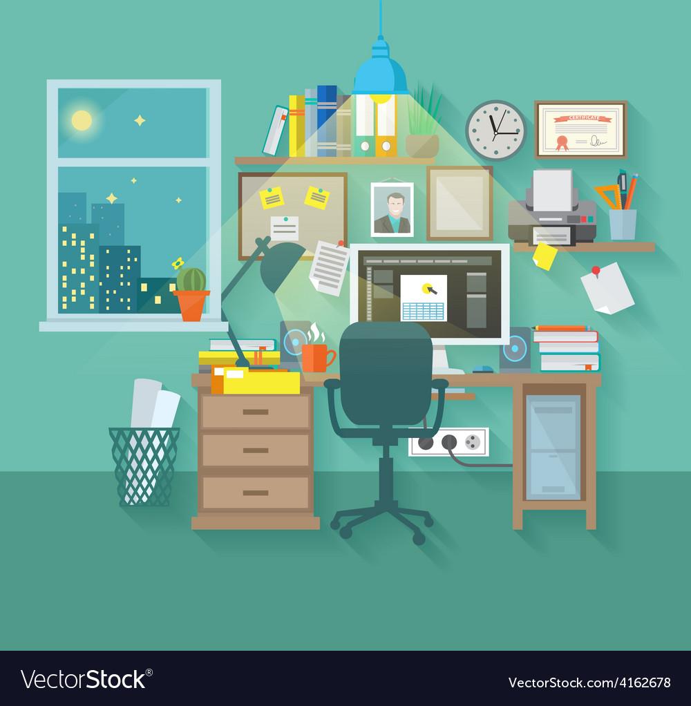 Workspace in room vector | Price: 3 Credit (USD $3)