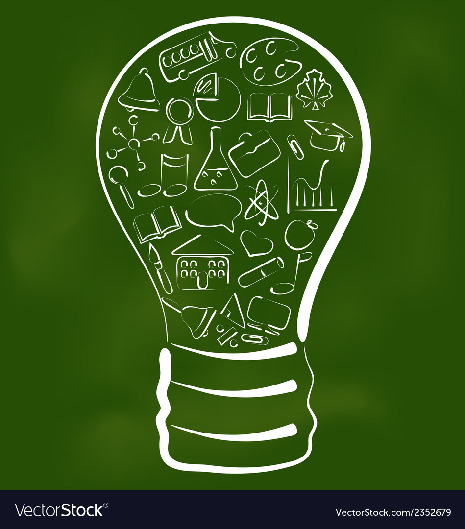 Concept of bulb with set school icons vector | Price: 1 Credit (USD $1)