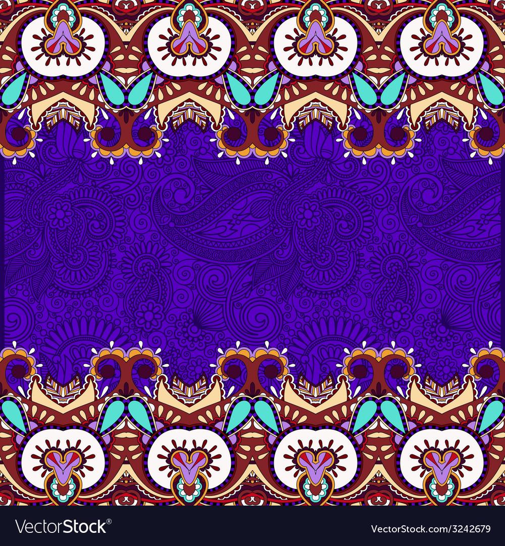 Ethnic stripe ornament on floral violet background vector | Price: 1 Credit (USD $1)