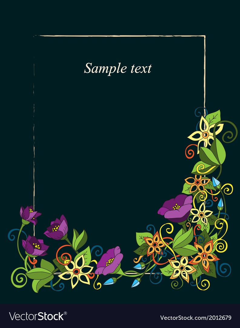 Floral card hand drawn retro flowers and leaves on vector   Price: 1 Credit (USD $1)