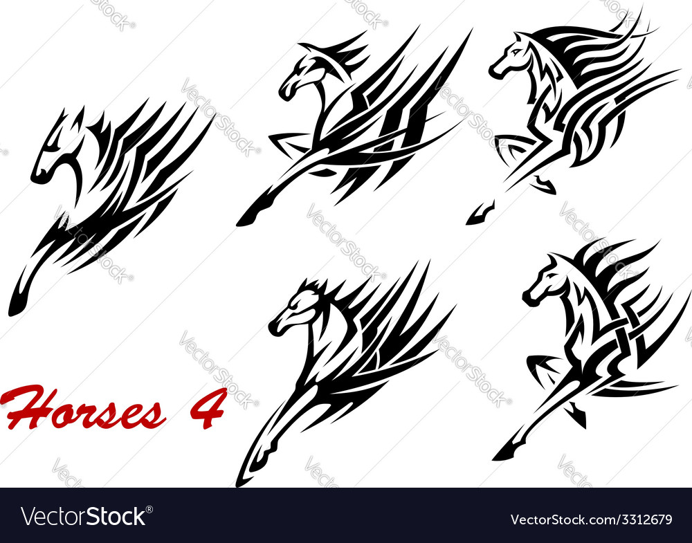 Galloping horses icons or tattoos vector | Price: 1 Credit (USD $1)