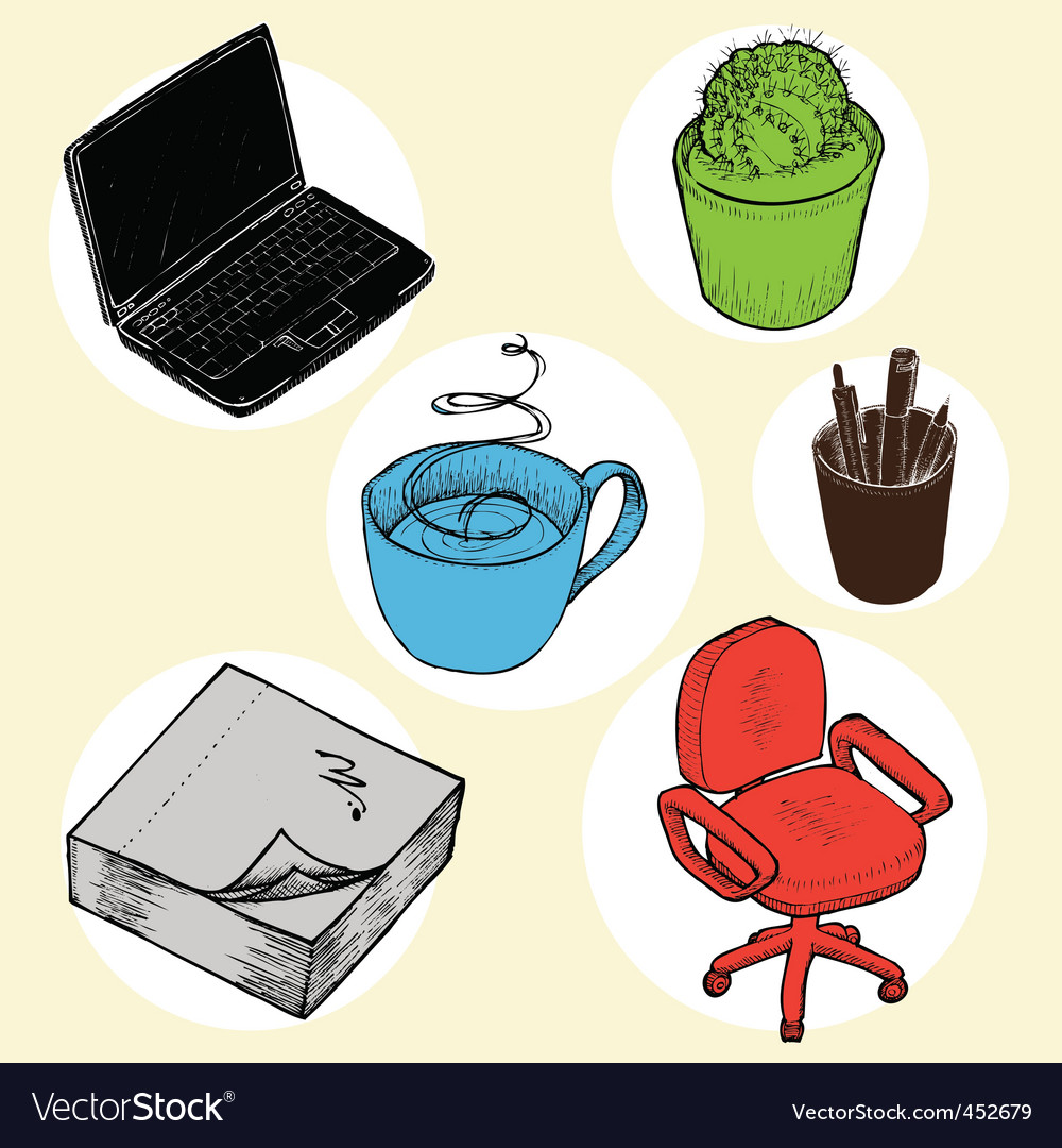 Office objects vector | Price: 1 Credit (USD $1)