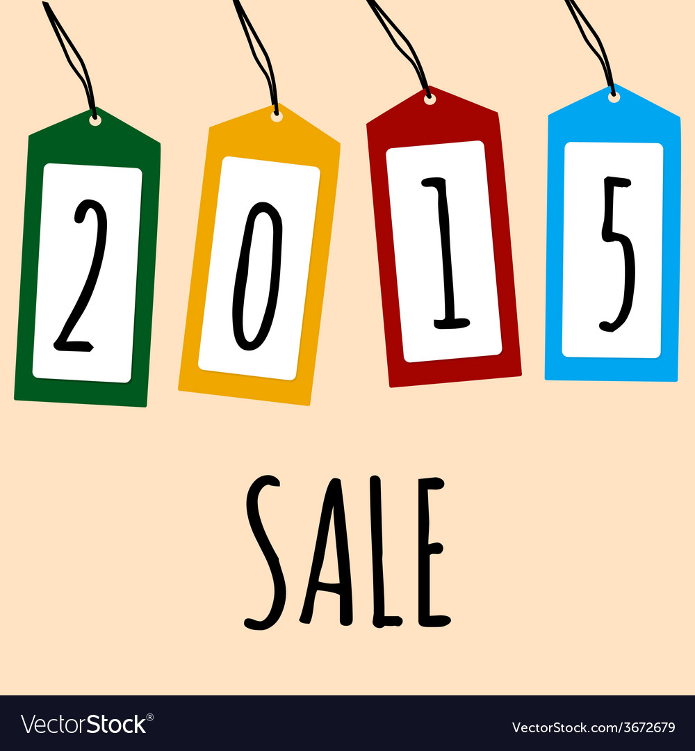 Sale card 2015 on price tags vector | Price: 1 Credit (USD $1)