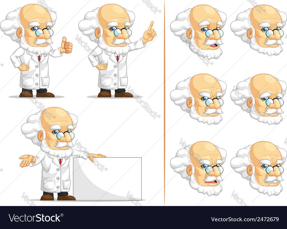 Scientist or professor customizable mascot 6 vector | Price: 1 Credit (USD $1)
