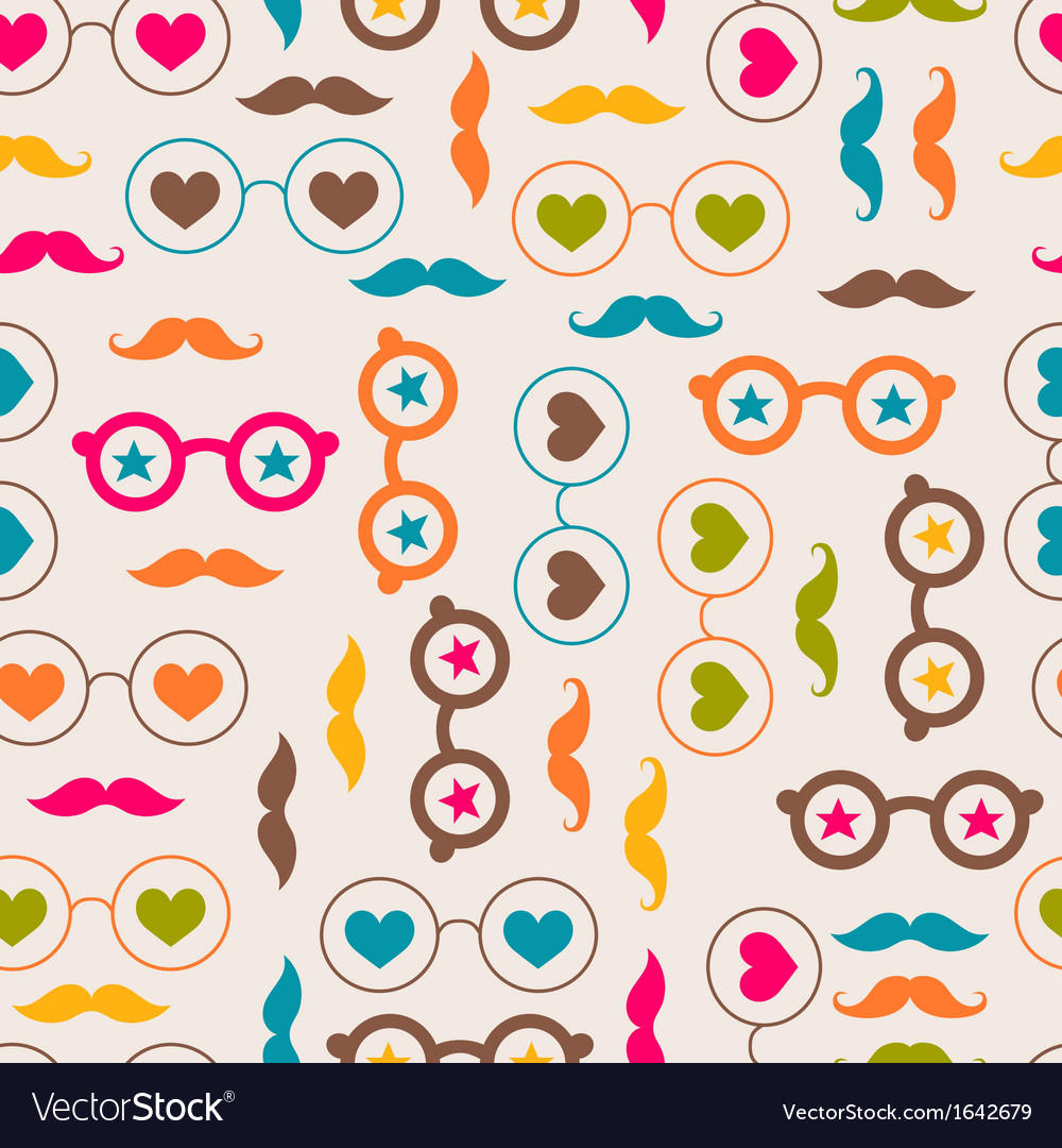 Seamless background with color glasses and mustach vector | Price: 1 Credit (USD $1)
