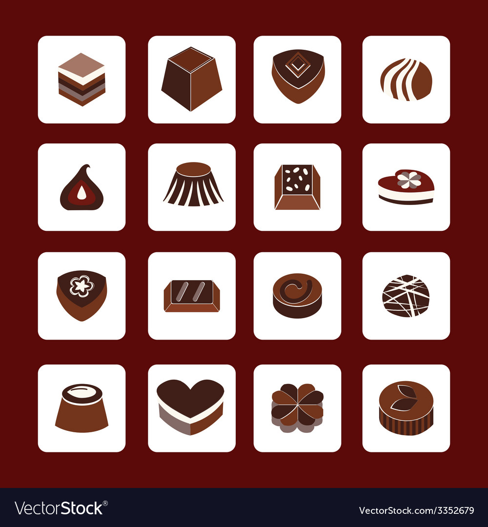 Set icons of chocolate icons - vector | Price: 1 Credit (USD $1)